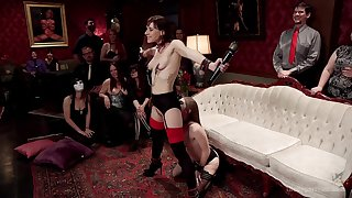 Alice March and Audrey Beanfeast are among rub-down the subs elbow a BDSM party