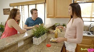 Cute babe Avi Lovehelps her stepbrother to get rid be advantageous to X bull