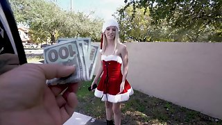 Christmas titties far the back bus for a slutty blonde doll
