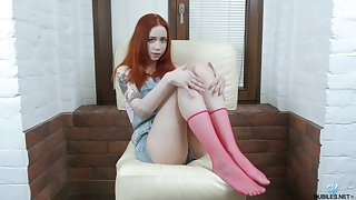 Ginger teen Stakes Flame fire is finger fucking pussy spreading hooves wide open