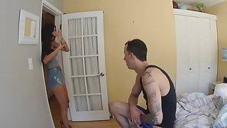 Amateur gets her hands on the stepbrother's dick