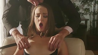 Abb� gags her and lets her lick his pain in the neck in front ruining her wet snatch