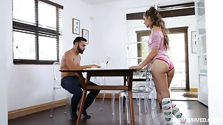 Submissive girlfriend Sofie Reyez gives a deepthroat blowjob under the directors