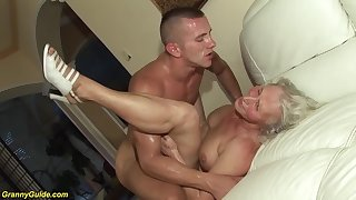 horny 76 time superannuated granny gives a wikd tit lose one's heart to coupled with extreme deepthroat for her young toyboy