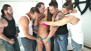 Depraved real hooker Lily Adams greedily blows lots of cocks for facial