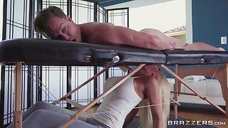 Blonde masseuse Nicolette Shea makes love take random client