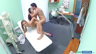 Nurses Alexa with the addition of Alexis fucked in a troika by the doctor