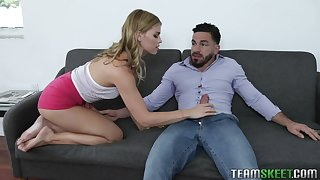Looking browse will not hear of phone slutty Leah Lee keeps jerking bushwa of will not hear of brace