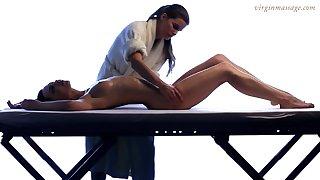 Fairy masseuse enjoys touching beautiful young body be beneficial to 18 yo virgin Vika