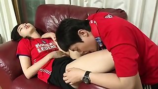 Amateur Korean cuple teen going to bed roughly hotel clip 6