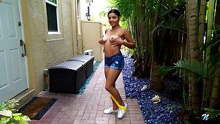 Lustful Latin babe Ella Cruz is masturbating wet pussy outdoor